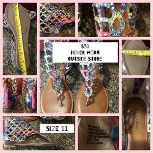 Multi Colored Zip up sandal